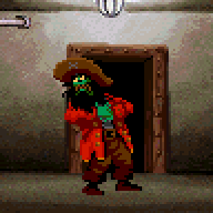 LeChuck feeling the voodoo doll effect in his guts in Monkey Island 2 by LucasArts