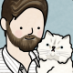 An illustration of Taylor with his cat